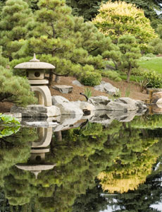 The Japanese Garden at Denver Botanic Gardens. Pictured is 'Tourou,' which means Garden Lantern, which was a gift from from Takayama (our sister city) in Japan.