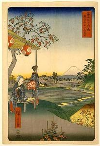 """Viewing Mount Fuji from a Tea House at Zoshigaya"" Utagawa Hiroshige"