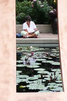 Artists love the Zen Doorway water garden.