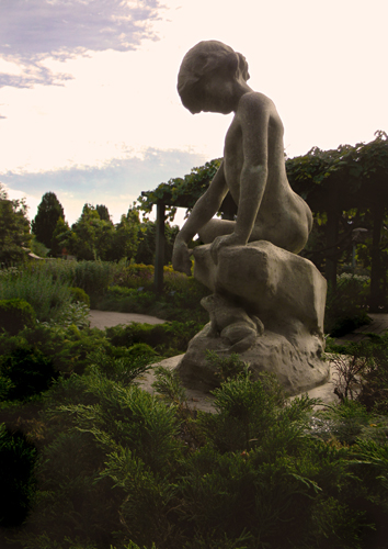 "Denver Botanic Gardens' ""Boy and Frog"" sculpture by Elsie Ward Hering"