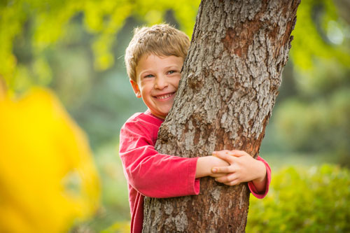 Boy hugging a tree