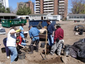 Colorado Water Garden Society volunteers helping with spring installation.