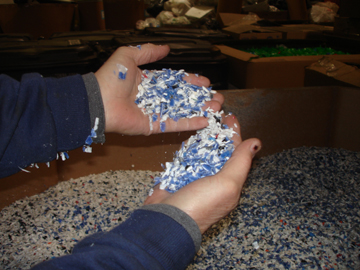 Granules of plastic ground down from recycled materials