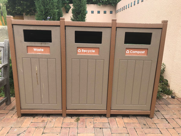 Recycle, compost and waste bins at the Gardens