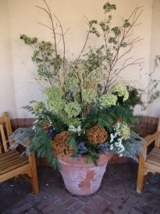 Dried floral display in the Romantic Garden.