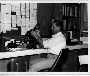 Dr. Sam Mitchel studying his favorite fungi