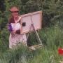 Judith Scott painting outdoors