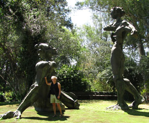 Pam Rathke, tour leader extraordinaire, is standing in the midst of a famous grouping of giant statues at the Brenthurst estate, owned by the Oppenheimer family, of DeBeer and Anglo-American corporation fame.