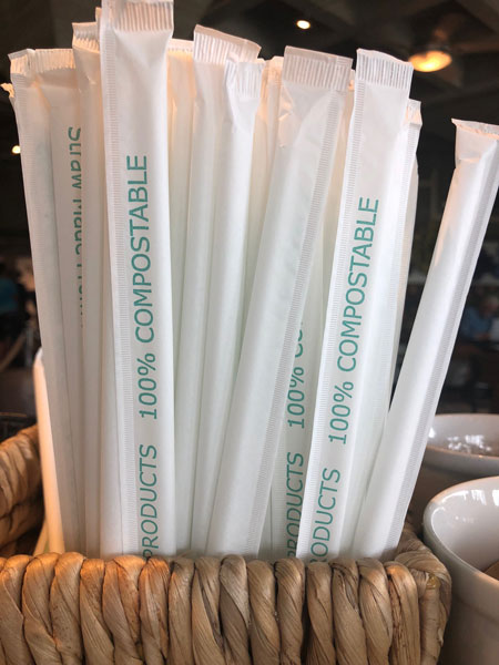 100% compostable straws at the Gardens