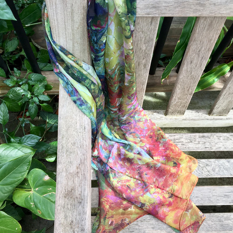 6eadf4265908 Monet s Garden scarf in various colors and patterns